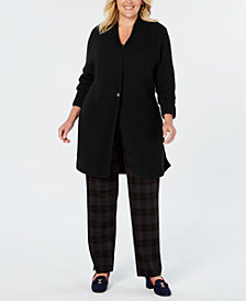 Charter Club Plus Size Ribbed Cardigan Sweater, Created for Macy's