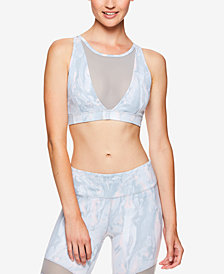 Gaiam by Jessica Biel Printed High-Neck Mesh-Trimmed Low-Impact Sports Bra