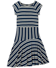 Tommy Hilfiger Big Girls Striped Asymmetrical-Hem Dress