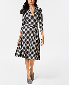 Petite Plaid Fit & Flare Dress, Created for Macy's