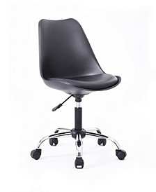 Armless Office Chair with Seat Cushion in Black