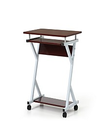Wood Top Laptop Desk on Wheels with Pull-out Keyboard Tray