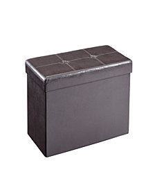 Double, Foldable, Faux Leather, Storage Ottoman