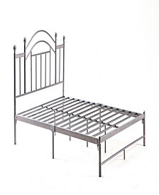 Complete Platform Twin-Size Bed with Headboard, Slats and Rails in Silver