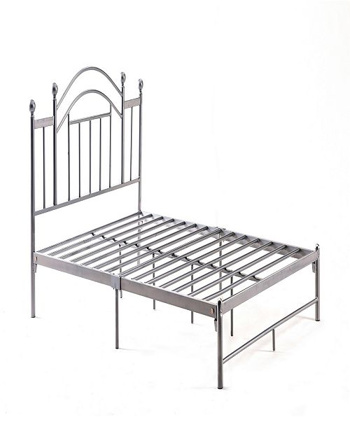 Hodedah Complete Platform Twin-Size Bed with Headboard, Slats and Rails