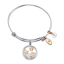 Unwritten Snowflake Design 8mm Clear Bead Shine Rose Gold Two Tone Bangle Bracelet