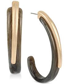 Robert Lee Morris Soho Gold-Tone & Plastic Sculptural Hoop Earrings