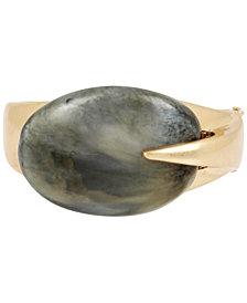Robert Lee Morris Soho Gold-Tone Oval Stone Sculptural Bangle Bracelet
