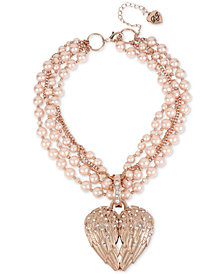 "Betsey Johnson Rose Gold-Tone Pavé & Imitation Pearl Winged Heart Pendant Torsade Necklace, 17"" + 3"" extender"