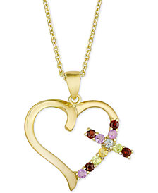 "Multi-Gemstone (1/2 ct. t.w.) & Diamond Accent Cross Heart 18"" Pendant Necklace in 18k Gold-Plated Sterling Silver"