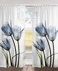 "Blue Tulip Trio 84"" Sheer Window Panel"