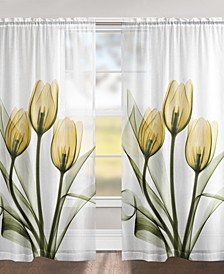 "Golden Tulips 84"" Sheer Window Panel"