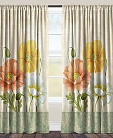 "Pastel Poppies 84"" Sheer Window Panel"