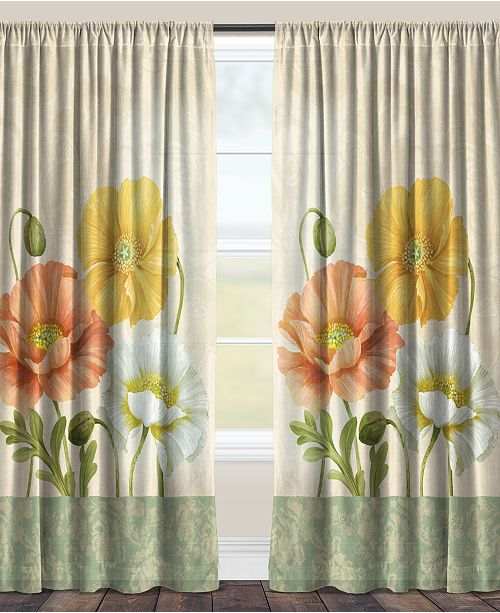 "Laural Home Pastel Poppies 84"" Sheer Window Panel"