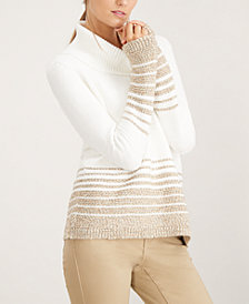 Calvin Klein Shimmer-Stripe Turtleneck Sweater