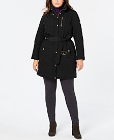 Michael Michael Kors Plus Size Hooded Belted Jacket, Created for Macy's
