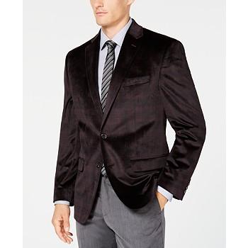 Lauren Ralph Men's Classic/Regular Fit Velvet Plaid Sport Coat
