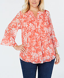 Charter Club Plus Size Floral-Print Pintuck-Pleat Top, Created for Macy's