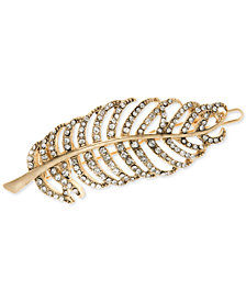 lonna & lilly Gold-Tone Pavé Leaf Hair Barrette, Created for Macy's