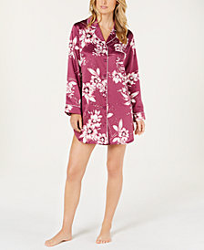 Linea Donatella Sleepy Head Flower-Print Satin Sleepshirt SHM160
