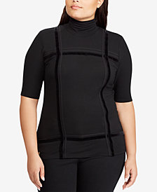 Lauren Ralph Lauren Plus Size Velvet-Striped Turtleneck Top