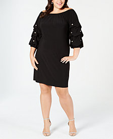 MSK Plus Size Off-The-Shoulder Volume-Sleeve Shift Dress