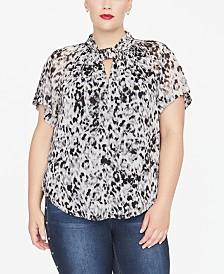 RACHEL Rachel Roy Trendy Plus Size Cowl-Neck Top