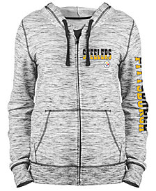 5th & Ocean Women's Pittsburgh Steelers Space Dye Full-Zip Hoodie