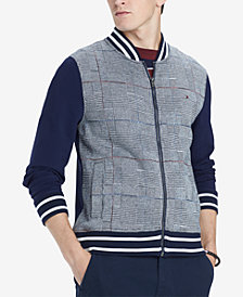 Tommy Hilfiger Men's Glenn Plaid Full-Zip Knit Bomber Jacket