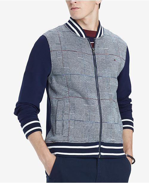 a34a5dc24 Tommy Hilfiger Men's Glenn Plaid Full-Zip Knit Bomber Jacket ...