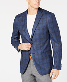 Michael Kors Men's Classic/Regular Fit Blue Plaid Wool Sport Coat
