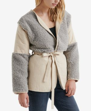LUCKY BRAND Mixed Faux Shearling Jacket in Grey Multi
