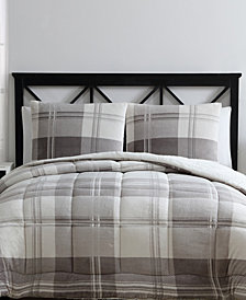 VCNY Home Cole Reversible 3-Pc. Plaid Faux-Fur Full/Queen Comforter Set