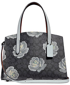 COACH Coated Canvas Signature Rose-Print Charlie 28 Carryall