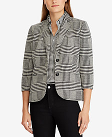 Lauren Ralph Lauren Plaid Knit Blazer