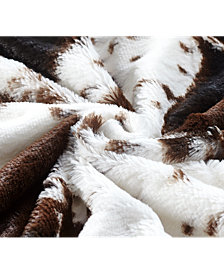 Animal Printed Double Sided Faux Fur Throw, Cows