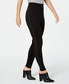 I.N.C. Shaping Embellished Tuxedo-Stripe Leggings, Created for Macy's