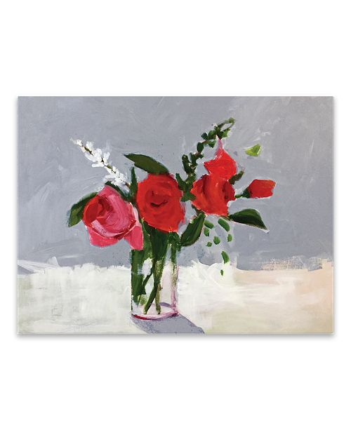 "Artissimo Designs Rose On Grey Hand Embellished Canvas Art - 32"" W x 24"" H x 1.5"" D"