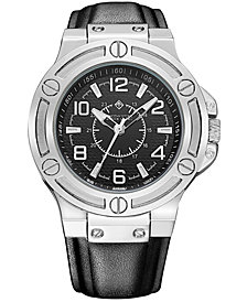 Timothy Stone Manis' Men's Quartz Oversized Metal and Leather Strap Watch