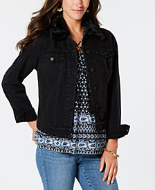 Style & Co Petite Faux-Fur Denim Jacket, Created for Macy's