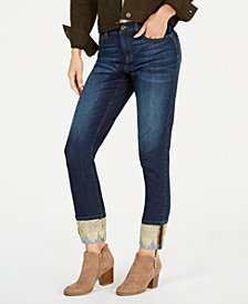 Style & Co Petite Lace-Contrast Boyfriend Jeans, Created for Macy's