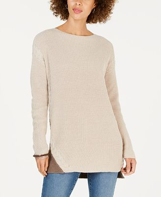 Style Co Cable Trimmed High Low Tunic Sweater Created For Macys