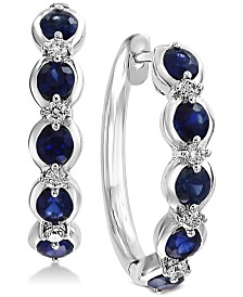 Effy Sapphire (1 1/4 Ct.t.w.) and Diamond (1/6 Ct.t.w.) Hoop Earrings in 14k White Gold