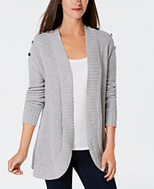 Charter Club Button-Detail Curved-Hem Cardigan, Created for Macy's