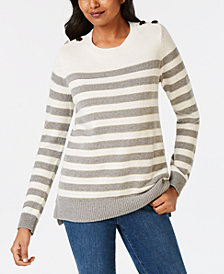 Charter Club Embellished Striped Sweater, Created for Macy's