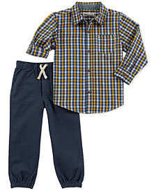 Kids Headquarters Baby Boys 2-Pc. Plaid Shirt & Twill Jogger Pants Set