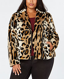 I.N.C. Plus Size Leopard-Print Faux-Fur Moto Jacket, Created for Macy's