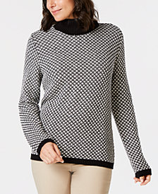 Karen Scott Petite Cotton Textured Turtleneck Sweater, Created for Macy's