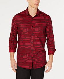 Alfani Men's Broken Stripe Jacquard Shirt, Created for Macy's