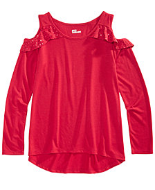 Epic Threads Big Girls Ruffle-Trim Cold Shoulder Top, Created for Macy's